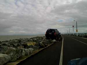 Car stuck on Breakwater 1
