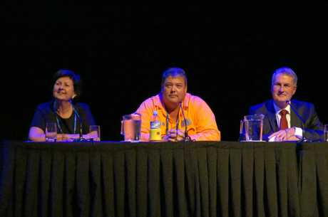 Isaac Mayor Anne Baker, Whitsunday Mayor Andrew Wilcox and Mackay Mayor Greg Williamson at the Local Goverment and Disiater Management Conference 2017