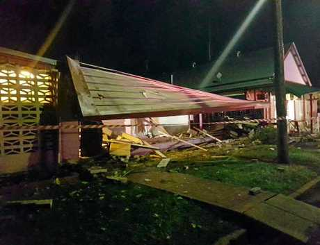 HARD HIT: Photo show damage after a Landcruiser smashed into the South Kolan Pub in the early hours of the morning on Mother's Day.