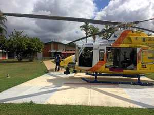 Helicopter airlifts injured woman after head-on crash