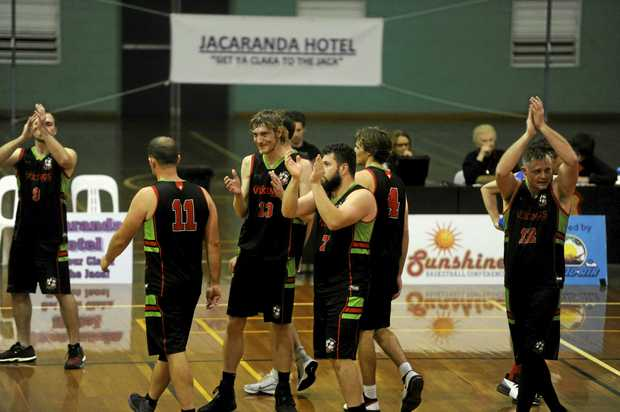 Grafton Vikings thank the crowd after booking a berth in the Sunshine Conference grand final during the Sunshine Basketball Conference semi-final between Grafton Vikings and Lismore Storm at the Grafton Sports Centre.