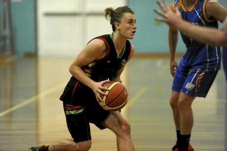 Vikings young gun Jack Boorman is cramped for space on the perimeter during the Sunshine Basketball Conference semi-final between Grafton Vikings and Lismore Storm at the Grafton Sports Centre.