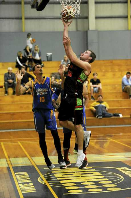 Vikings forward Mitch Wicks gets vertical to put in a lay-up during the Sunshine Basketball Conference semi-final between Grafton Vikings and Lismore Storm at the Grafton Sports Centre.