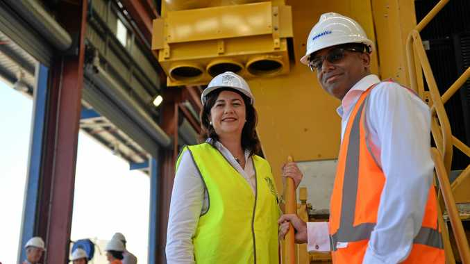 Premier Annastacia Palaszczuk and Adani's Jeyakumar Janakaraj. Photo Chris Lees / Daily Mercury
