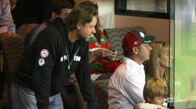 Russell Crowe pictured with Terri Irwin (far right) at a rugby league game in Sydney in 2007.