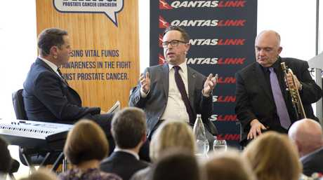 Media personality Karl Stefanovic (left) interviews Qantas chief executive officer Alan Joyce and jazz legend James Morrison (right) at charity lunch It's A Bloke Thing at Wellcamp Airport, Tuesday, August 9, 2016.