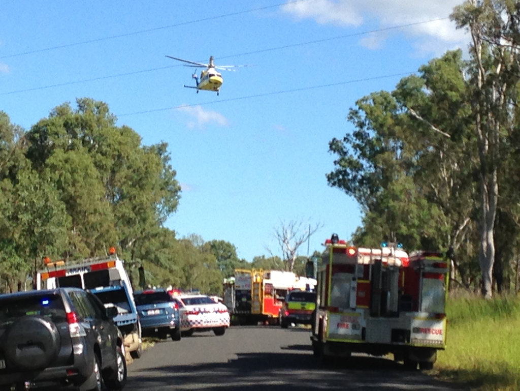 A rescue helicopter arrives at the deadly crash scene on Netherby Rd.