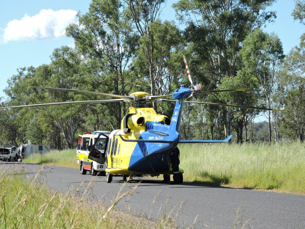 An elderly woman was airlifted from the scene of a horror crash on Netherby Rd on Monday.