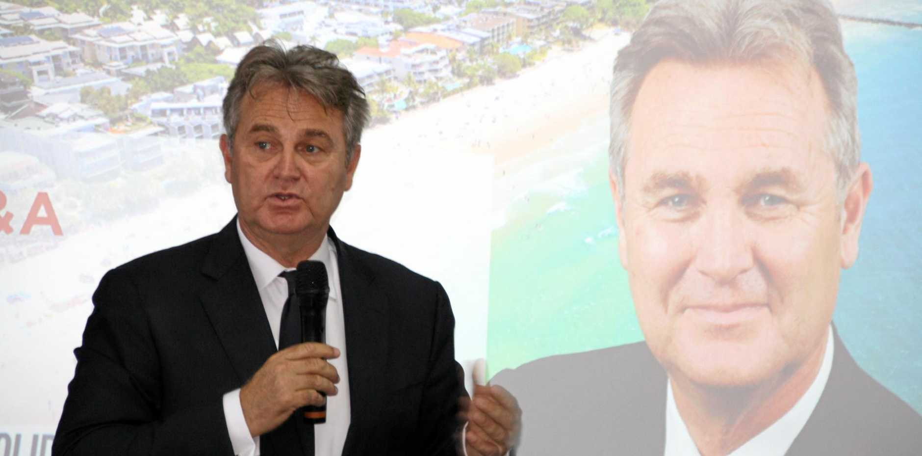 Social commentator Bernard Salt speaking at the UDIA Sunshine Coast breakfast meeting at Maroochy Surf Club.