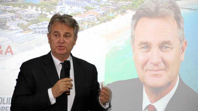 Social commentator Bernard Salt speaking at the UDIA Sunshine Coast breakfast meeting at Maroochy Surf Club.