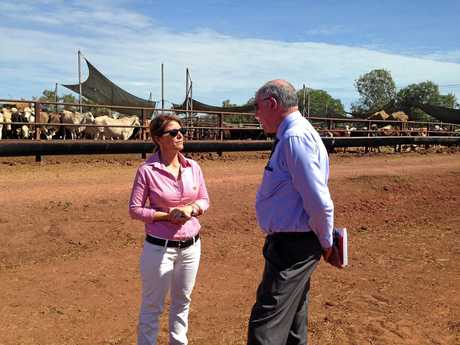 Tracey Hayes with Barnaby Joyce at the Bohning Stock Yards in Alice Springs in 2015.
