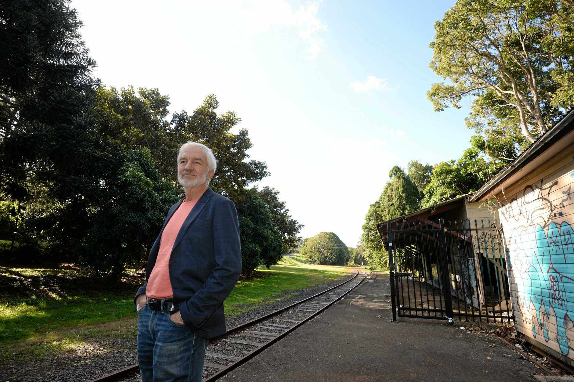 Northern Rivers Rail Trail Association secretary Geoff Meers at the old Bangalow Station.