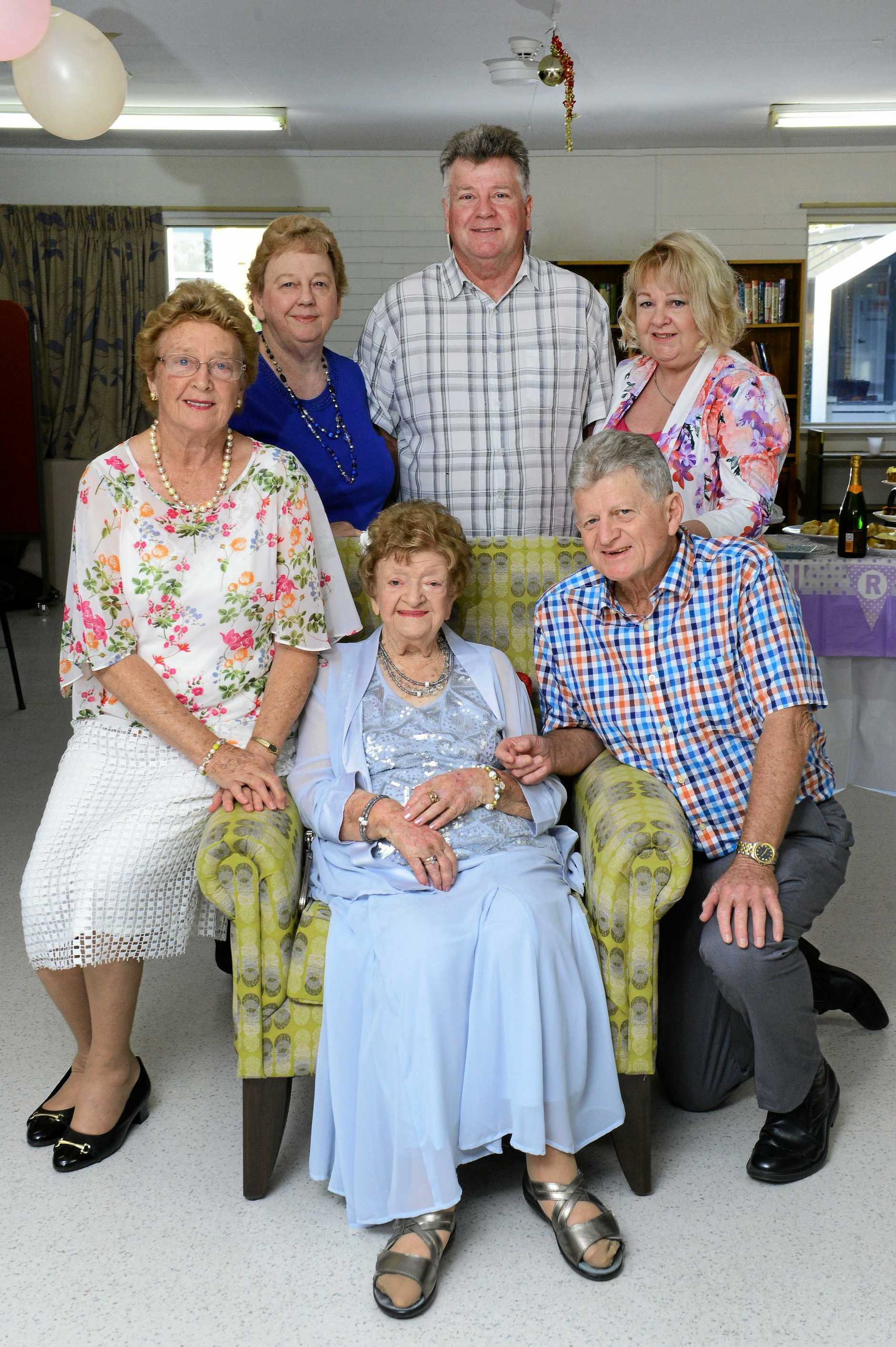 FAMILY: May Lawrie celebrates her 100th birthday with her children, Rhelma Morton, Lorelle Boyce, Geoff Lawrie, Christine Kross and Rod Lawrie at the Sinnamon Village.
