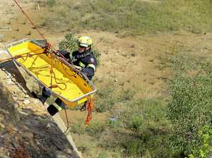 Car over cliff sparks frantic rescue mission