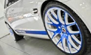 The stolen vehicle has a distinctive blue line down the side.