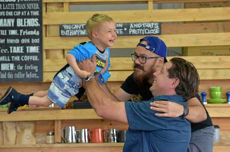 Johnie Stark (back) from The Pallet Espresso Bar with 4 year old Banjo O'Brien and his dad Brad.