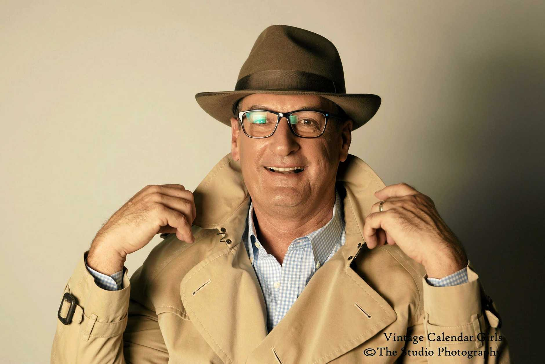 SETTING A SHINING EXAMPLE: Sunrise presenter David Koch gets all dressed up for the Vintage Calendar Girls photo shoot.