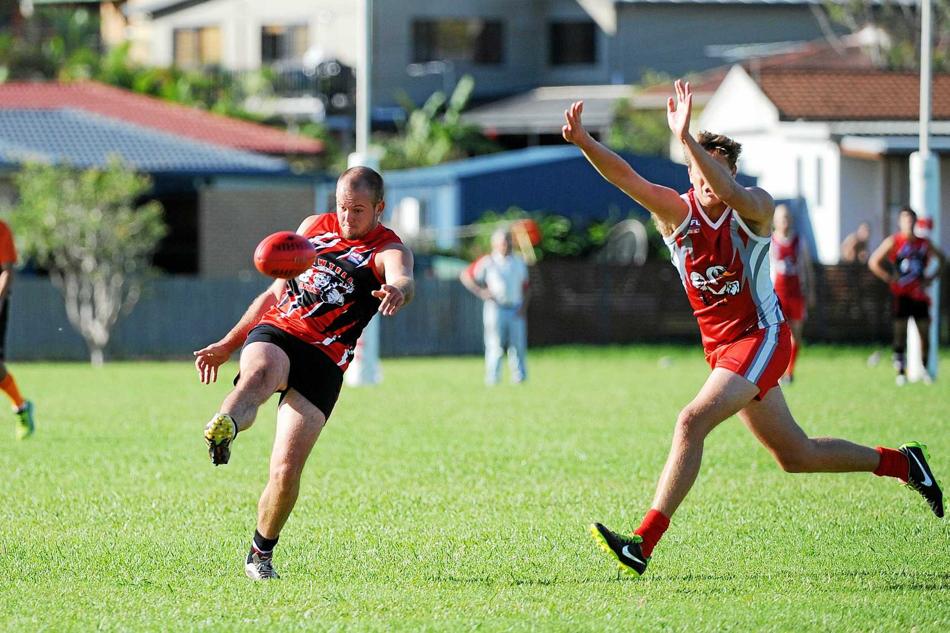 HOT SHOT: Aaron Clarke booted seven goals for Sawtell/Toormina during the Friday night game at Grafton.