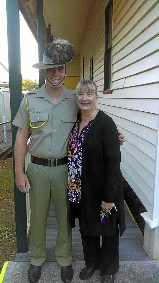 Trooper Stuart Reddan with his mother, Laura Dyne, outside Widgee Memorial Hall last Anzac Day.
