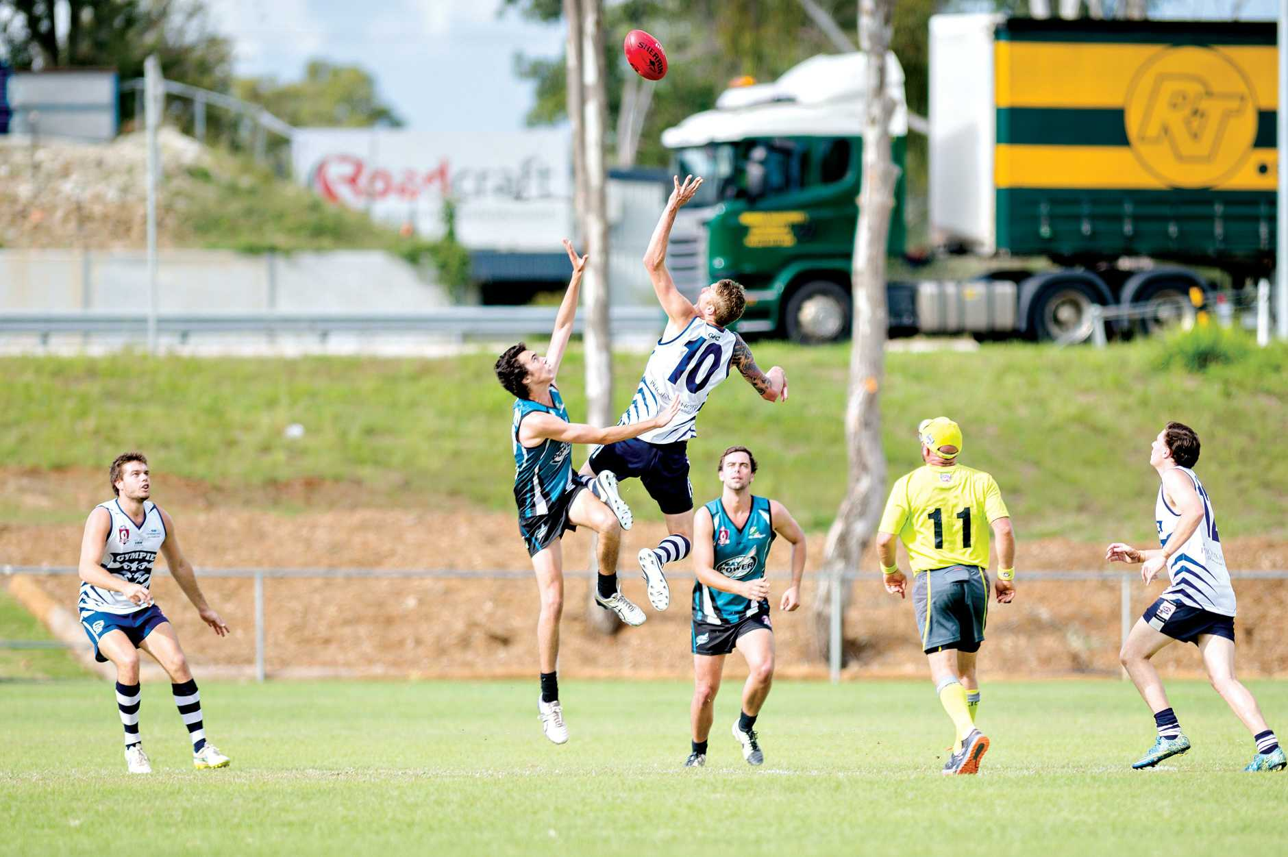 BIG LEAP: Gympie's Steele Porter shows his aeiral prowess with a big leap during the Cats 52-86 loss to the Bay Power at Six Mile Oval on Saturday.