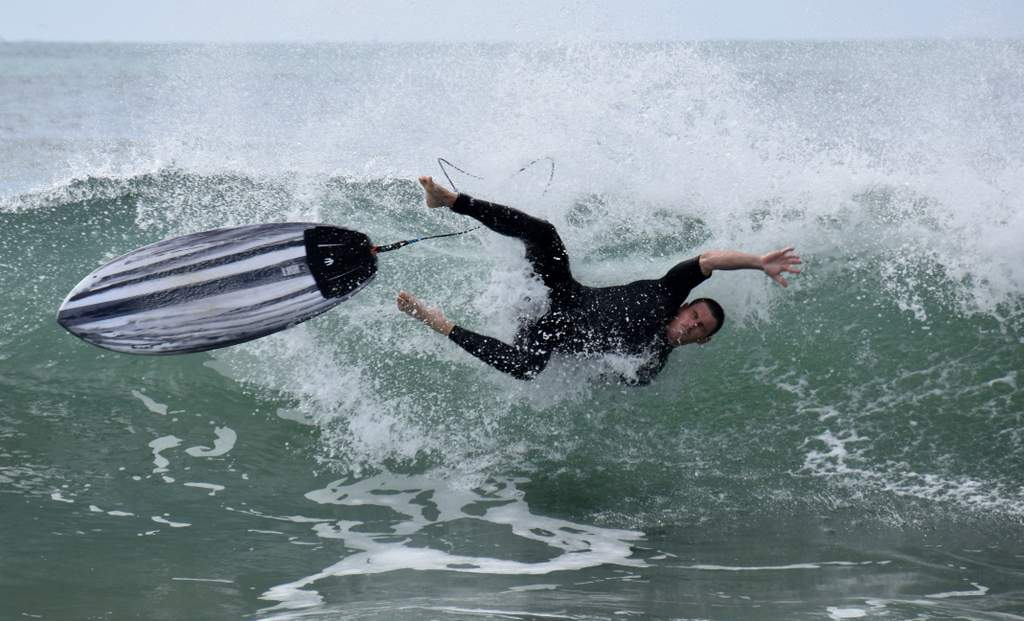 A surfer bails out of a dumping wave at Pt Cartwright on the weekend.