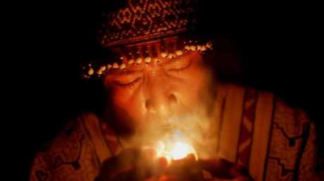 A shaman during an ayahuasca ceremony in the Amazon. Picture: Peace Productions/AbramoramaSource:Supplied