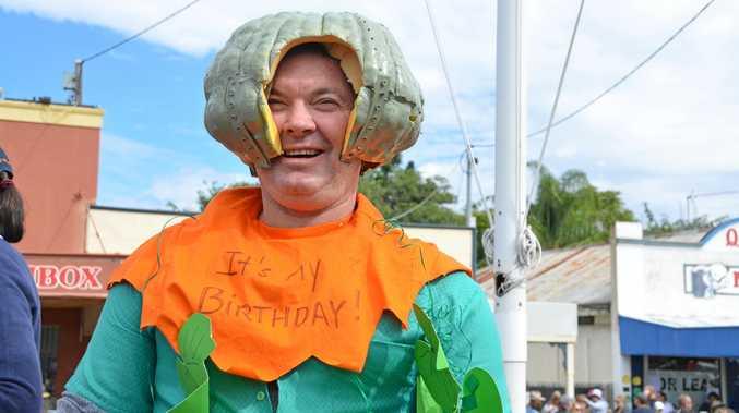 Russell Milson in the spirit at the 2016 Goomeri Pumpkin Festival.