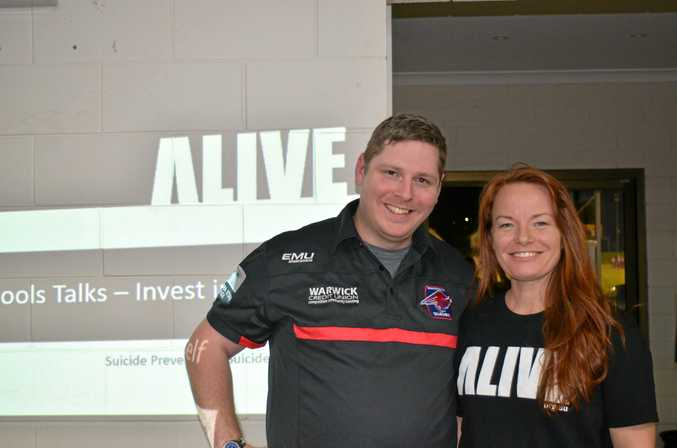 STAY HEALTHY: Warwick and District Junior Rugby League secretary Rob Weaver with Alive director Tamsyn Rosenberg.