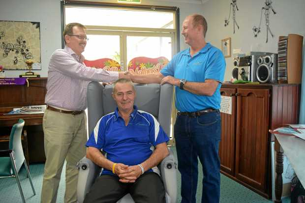 WORKING TOGETHER: Proserpine Nursing Home general manager Peter Hill, nurse Garry Smith and Wilmar representative Danny Van der Berg.