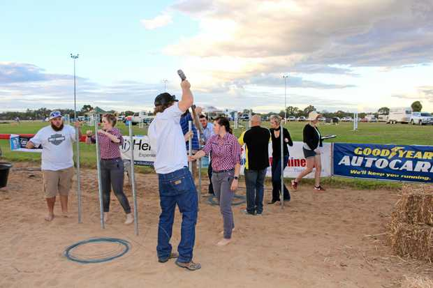 TEAMWORK: Telstra and the Drunks posted a good time in the young farmers challenge at the Roma Show.