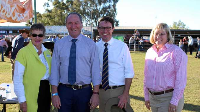 ON SHOW: Roma Show Society president Puddy Chandler, Deputy Prime Minister Barnaby Joyce, Maranoa MP David Littleproud and Warrego MP Ann Leahy at the Roma Show.