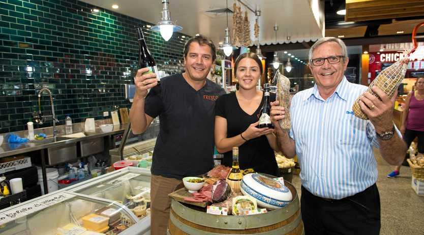 GOOD FOOD: Filipe and Brontie Barrera of Fresco Marketplace and George Cecato of Rotary prepare for the annual Wine, Beer & Food Enjoyment
