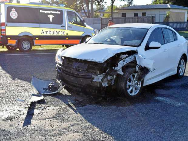 BIGGENDEN ACCIDENT: The aftermath of an accident on the corner of John St and Isis Highway at Biggenden Tuesday morning.