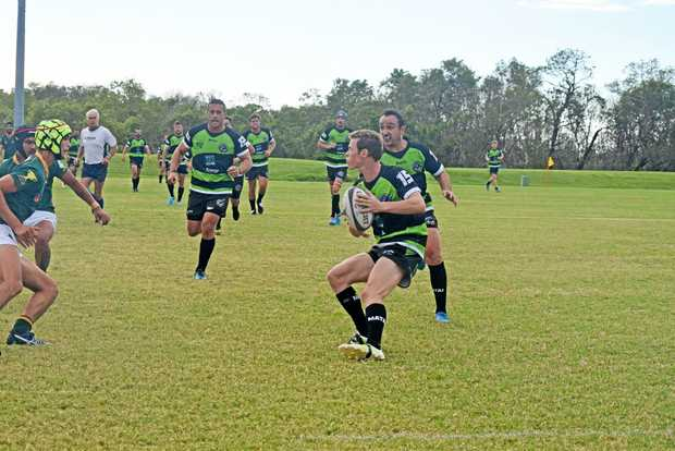 ON THE RUN: Whitsunday Raiders player Trent Cadwallader makes a run on Saturday at the Whitsunday Sportspark.