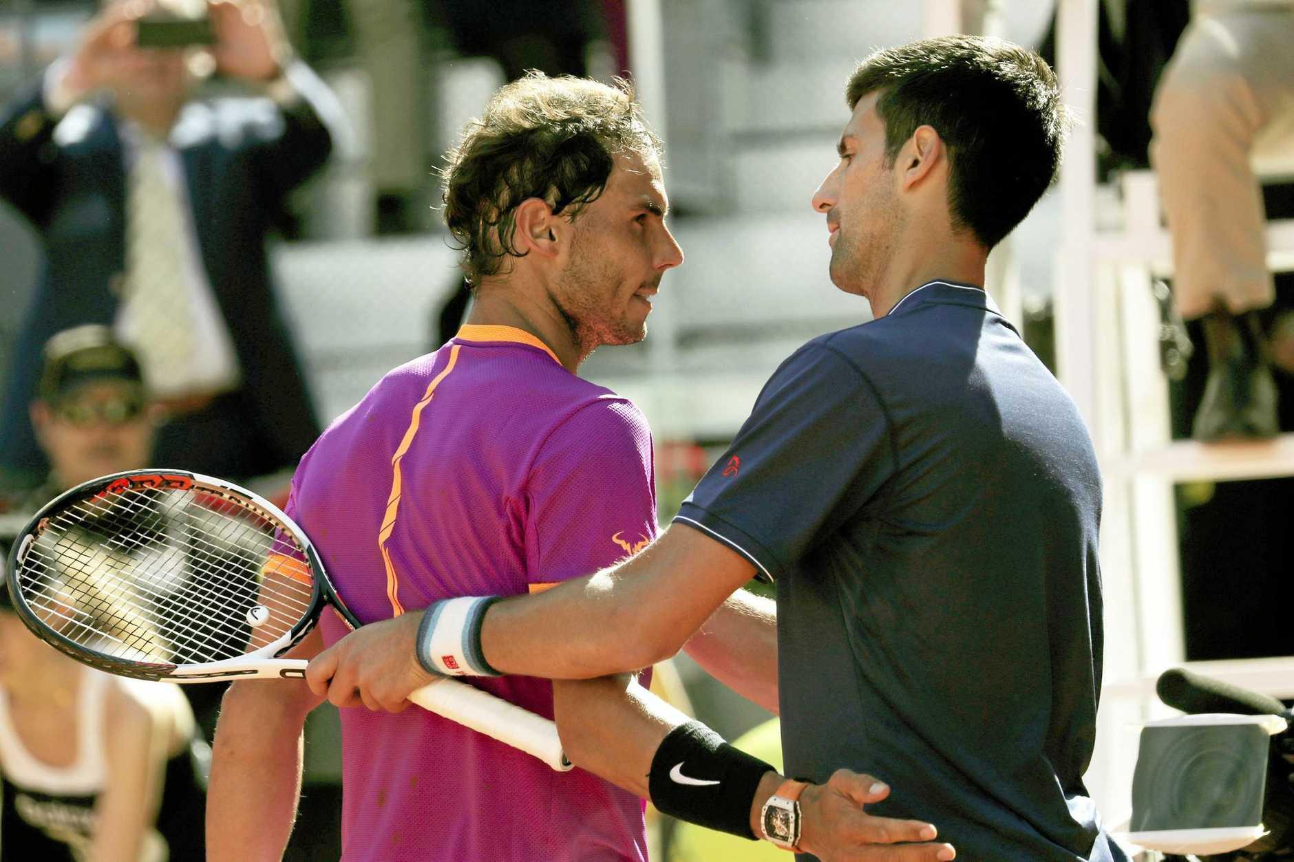 Spain's Rafael Nadal (left) after winning his semi-final match against Serbia's Novak Djokovic at the Madrid Open.