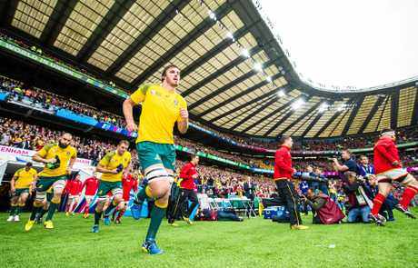 Australia's Kane Douglas takes the field in Australia v Wales match in the 2015 Rugby World Cup pool A fixture at Twickenham Stadium, London.