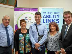 FLOOD RELIEF: Lismore MP Thomas George (left) chats with Kyogle Ability Linker Sandy Kelly, Ability Links participants Jacob Lorenzo (Tweed Heads) and Pam Bourke (Kyogle) with Minister for Disability Services Ray Williams during his visit to Ability Links in Lismore.