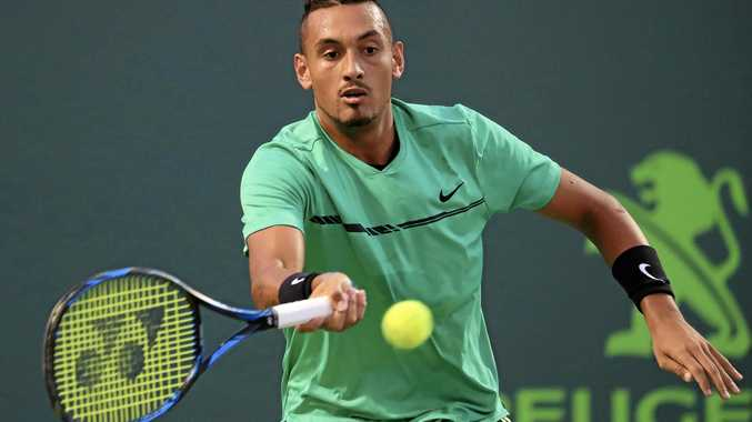 Nick Kyrgios of Australia hits a forehand against Alexander Zverev of Germany at the Miami Open.