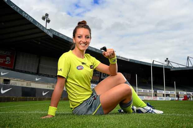AFL's first female umpire Eleni Glouftsis.