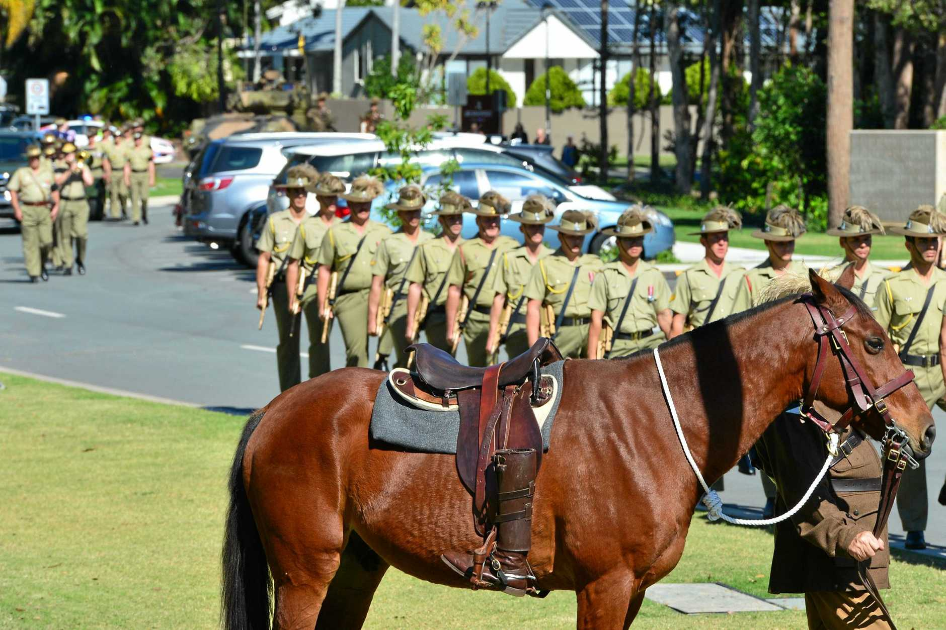 Trooper Stuart Reddan, 2/14 Light Horse Regiment (Queensland Mounted Infantry), tragically died during a training exercise at Shoalwater Bay on 4 May. He was farewelled with full military honours by family, friends and fellow soldiers at Gregson and weight, Maroochydore. The funeral procession was led by a riderless horse with stirrups reversed, which is a symbol of respect and mourning for fallen members of Light Horse units.