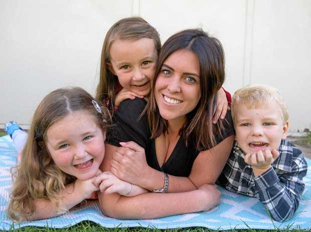 Sophie Grainger (centre) with kids at her family daycare centre Piper Broomhall, Zoe Woods and Oliver Waite - Sophie has been nominated for Australian Family Early Education and Care Awards