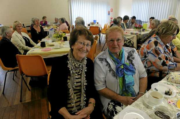 Helen Campbell and Yvonne McSwan at the Grafton Floral Society's Mother's Day morning tea on Friday, May 12.
