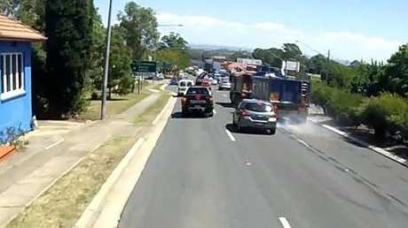 The truck is captured in dash cam footage near Queen St, St Marys.