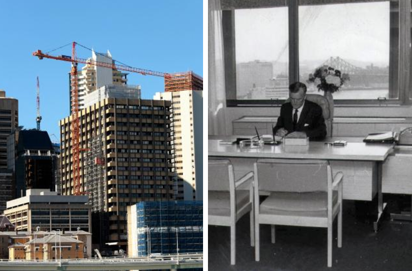 The Executive Building in Brisbane's George St, left, is being demolished. And right, Premier Joh Bjelke-Petersen at work in the building.