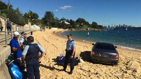 Police question the man, who had taken along his golf clubs.