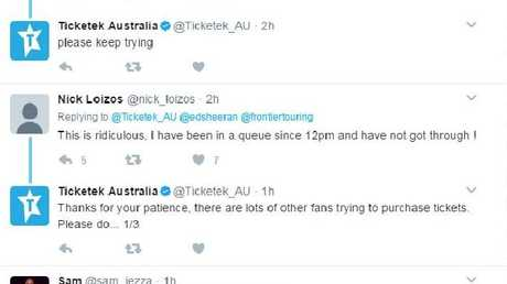 Ticketek attempting to calm angry fans.