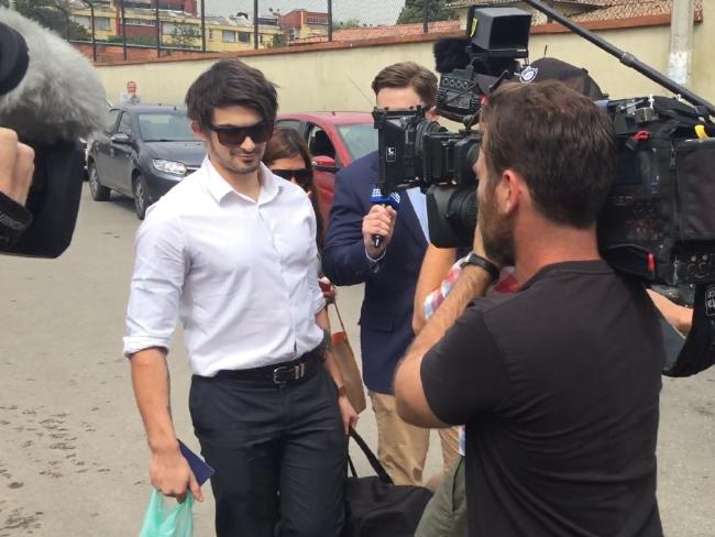 Scott Broadbridge enters El Buen Pastor women's prison, where Cassie Sainsbury has been detained for more than a month. Picture: James Law/news.com.au