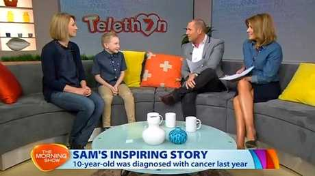 Sam Carroll and his mum Angela appear on The Morning Show with Larry Edmur and Kylie Gillies. Photo: Screenshot from Channel 7