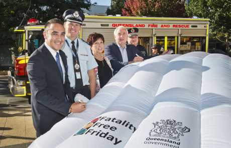 SAFETY GOAL: ( From left ) Cr James O'Shea, Superintendent Mark Kelly, Cr Carol Tayor, Mayor Paul Antonio and QFES Acting Assistant Commissioner David Hermann at the launch of Fatality Free Friday . Wednesday, 17th May, 2017.