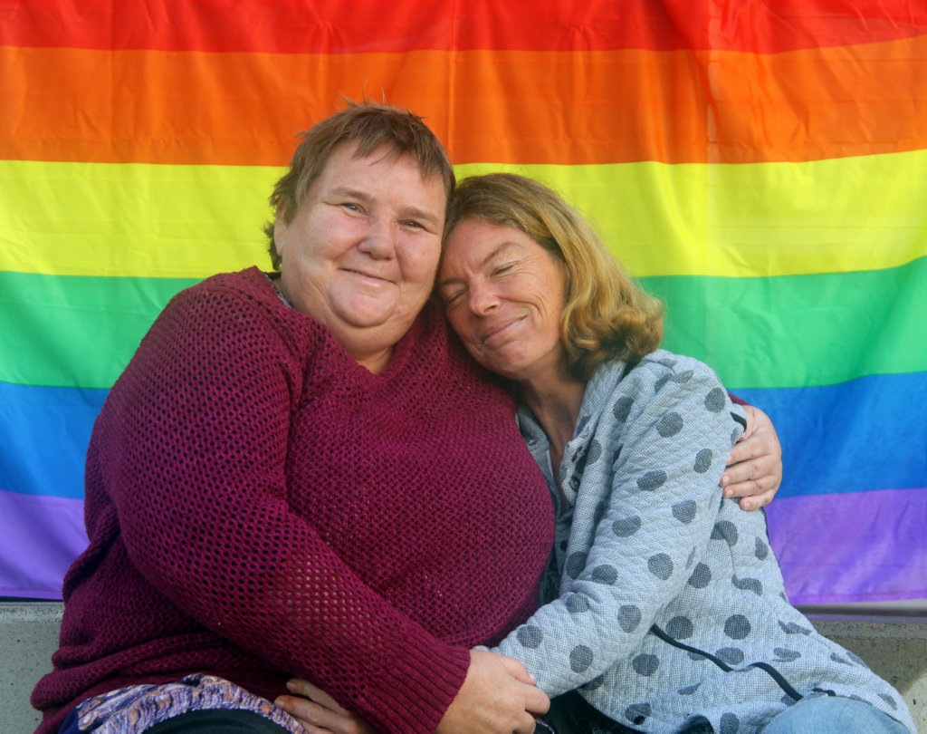 OUT AND PROUD: Gay couple Helen (L) and Angela from Hervey Bay say the region is very accepting of all families.